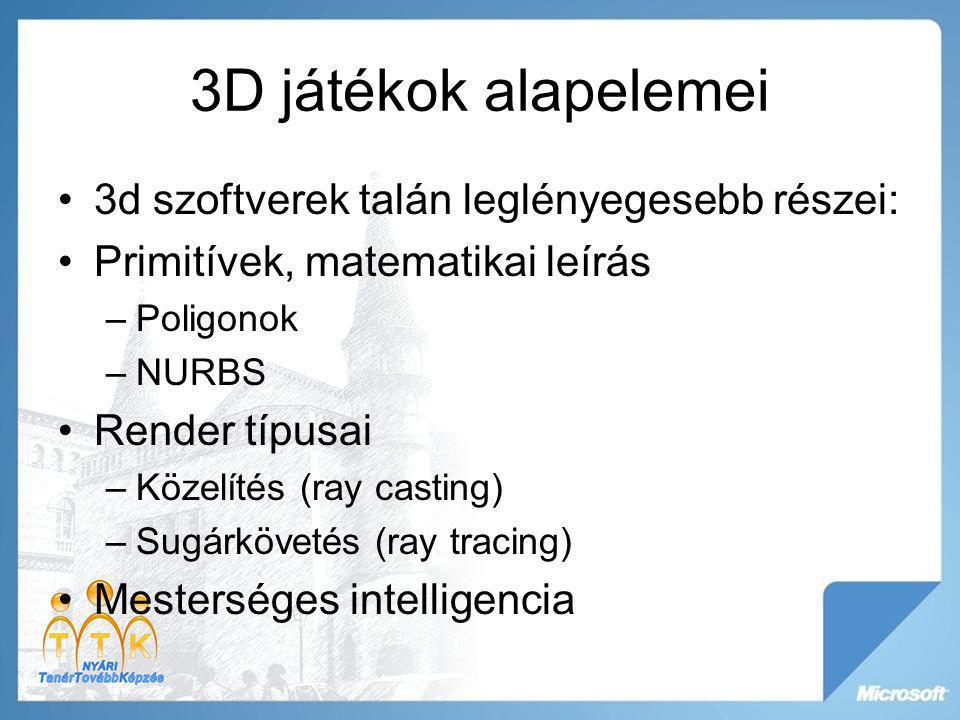 3D játékok alapelemei 3d szoftverek talán leglényegesebb részei: Primitívek, matematikai leírás –Poligonok –NURBS Render típusai –Közelítés (ray casti