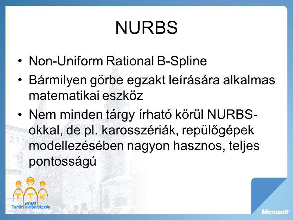 NURBS Non-Uniform Rational B-Spline Bármilyen görbe egzakt leírására alkalmas matematikai eszköz Nem minden tárgy írható körül NURBS- okkal, de pl. ka