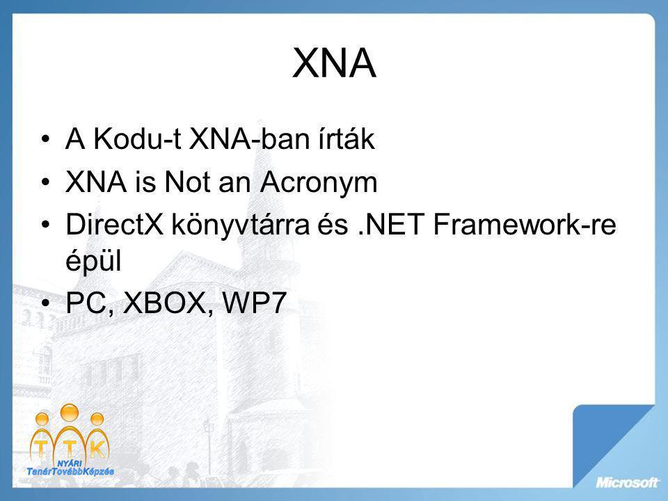 XNA A Kodu-t XNA-ban írták XNA is Not an Acronym DirectX könyvtárra és.NET Framework-re épül PC, XBOX, WP7