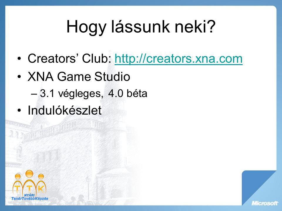 Hogy lássunk neki? Creators' Club: http://creators.xna.comhttp://creators.xna.com XNA Game Studio –3.1 végleges, 4.0 béta Indulókészlet