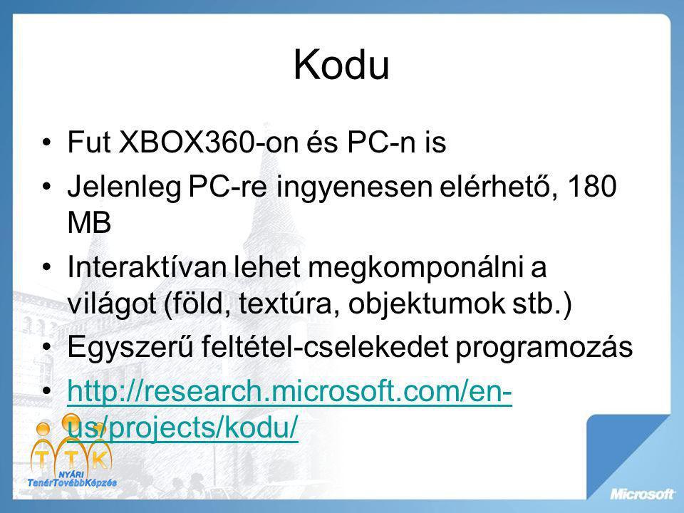 Kodu Fut XBOX360-on és PC-n is Jelenleg PC-re ingyenesen elérhető, 180 MB Interaktívan lehet megkomponálni a világot (föld, textúra, objektumok stb.)