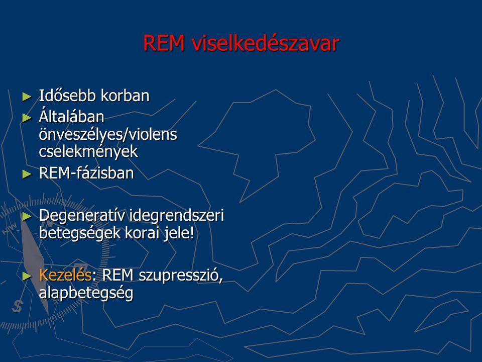 REM viselkedészavar ► Idősebb korban ► Általában önveszélyes/violens cselekmények ► REM-fázisban ► Degeneratív idegrendszeri betegségek korai jele! ►