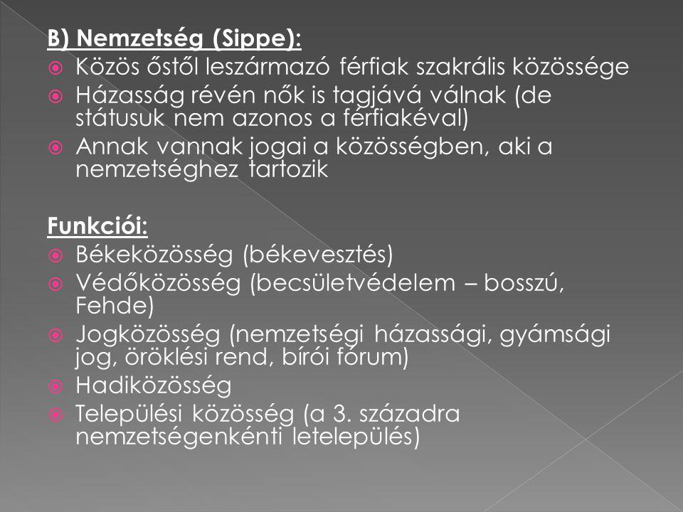 B) Nemzetség (Sippe):  Közös őstől leszármazó férfiak szakrális közössége  Házasság révén nők is tagjává válnak (de státusuk nem azonos a férfiakéva