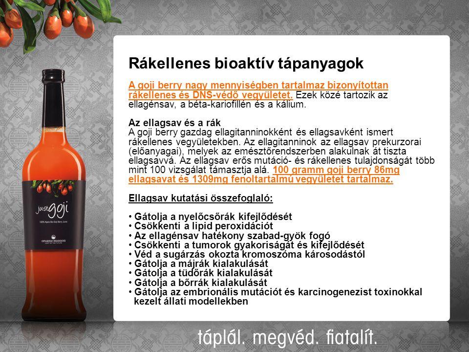 Rákellenes bioaktív tápanyagok A goji berry nagy mennyiségben tartalmaz bizonyítottan rákellenes és DNS-védő vegyületet. Ezek közé tartozik az ellagén