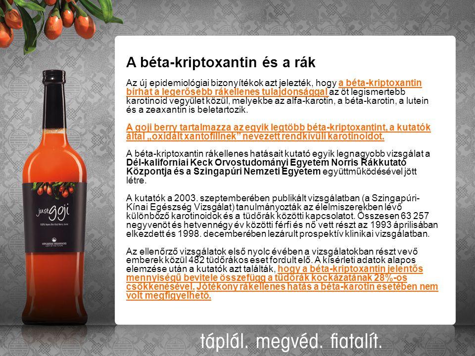 A béta-kriptoxantin és a rák Az új epidemiológiai bizonyítékok azt jelezték, hogy a béta-kriptoxantin bírhat a legerősebb rákellenes tulajdonsággal az öt legismertebb karotinoid vegyület közül, melyekbe az alfa-karotin, a béta-karotin, a lutein és a zeaxantin is beletartozik.