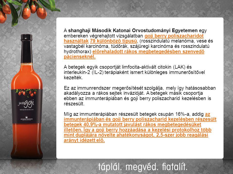 A shanghaji Második Katonai Orvostudományi Egyetemen egy embereken végrehajtott vizsgálatban goji berry poliszacharidot használtak 79 különböző típusú