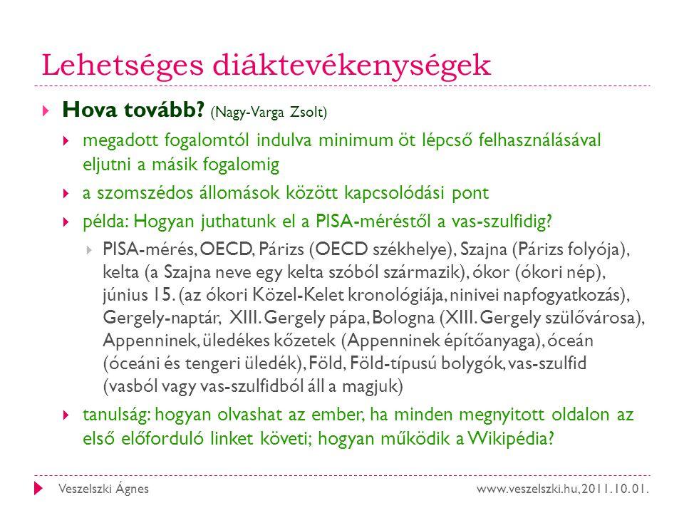 www.veszelszki.hu, 2011. 10. 01.Veszelszki Ágnes Lehetséges diáktevékenységek  Hova tovább? (Nagy-Varga Zsolt)  megadott fogalomtól indulva minimum