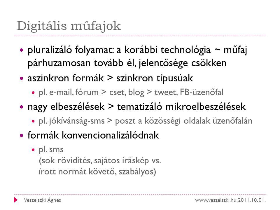 www.veszelszki.hu, 2011. 10. 01.Veszelszki Ágnes Digitális műfajok pluralizáló folyamat: a korábbi technológia ~ műfaj párhuzamosan tovább él, jelentő