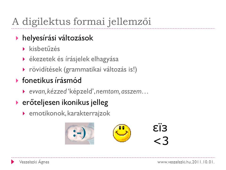www.veszelszki.hu, 2011. 10. 01.Veszelszki Ágnes A digilektus formai jellemzői  helyesírási változások  kisbetűzés  ékezetek és írásjelek elhagyása