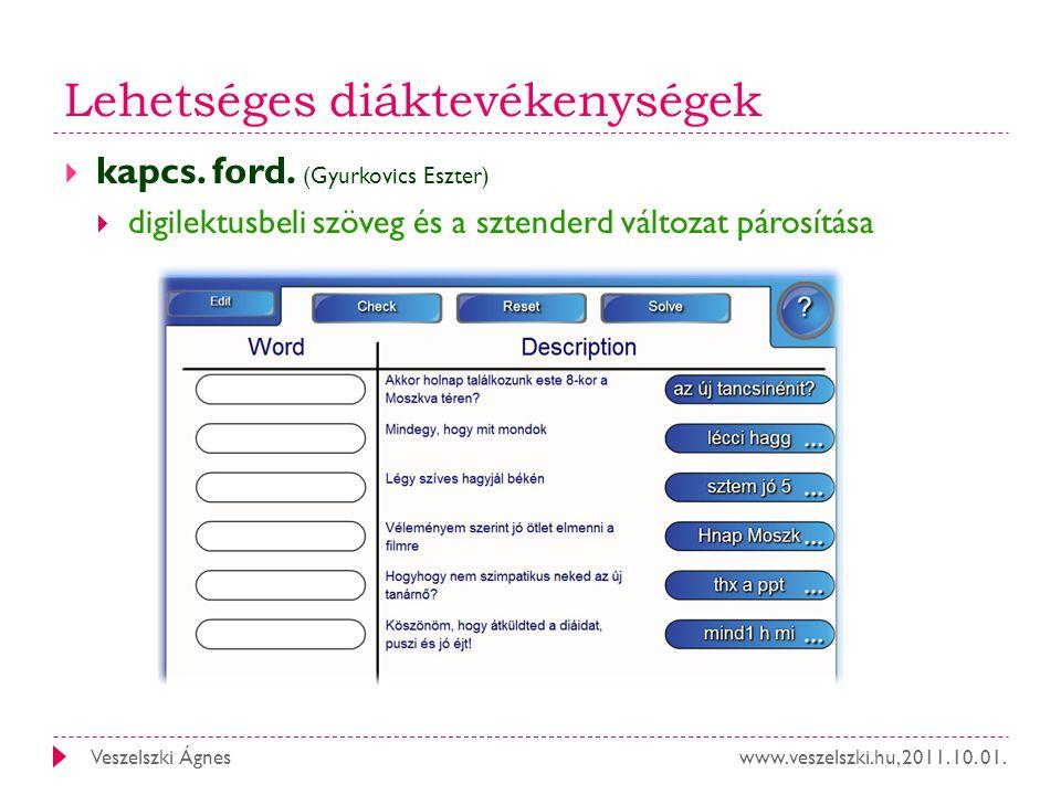 www.veszelszki.hu, 2011. 10. 01.Veszelszki Ágnes Lehetséges diáktevékenységek  kapcs. ford. (Gyurkovics Eszter)  digilektusbeli szöveg és a sztender