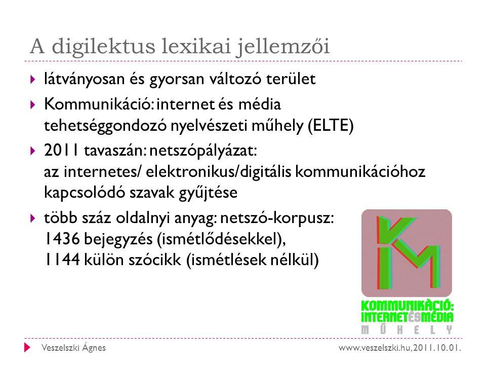 www.veszelszki.hu, 2011. 10. 01.Veszelszki Ágnes A digilektus lexikai jellemzői  látványosan és gyorsan változó terület  Kommunikáció: internet és m