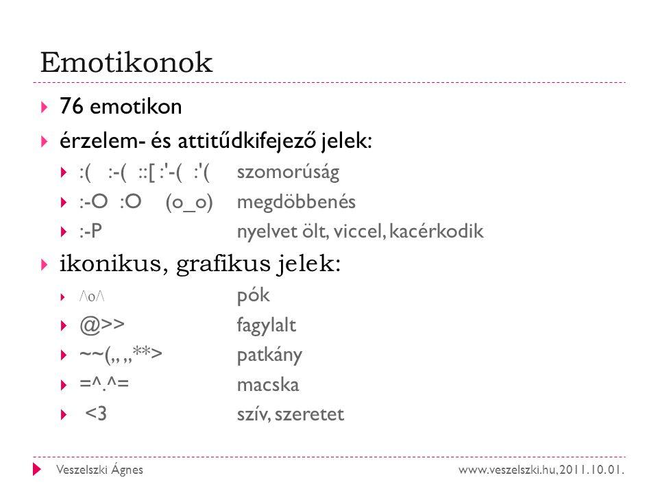 www.veszelszki.hu, 2011. 10. 01.Veszelszki Ágnes Emotikonok  76 emotikon  érzelem- és attitűdkifejező jelek:  :( :-( ::[ :'-( :'( szomorúság  :-O