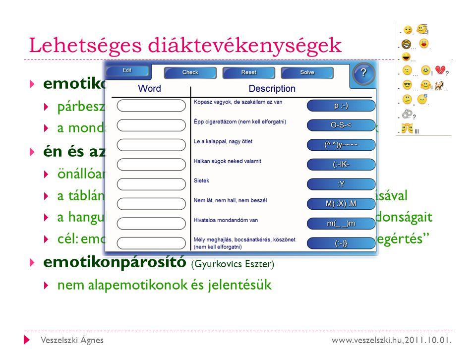 www.veszelszki.hu, 2011. 10. 01.Veszelszki Ágnes Lehetséges diáktevékenységek  emotikonhoz a szöveget (Pankovics Gergő)  párbeszéd alkotása  a mond