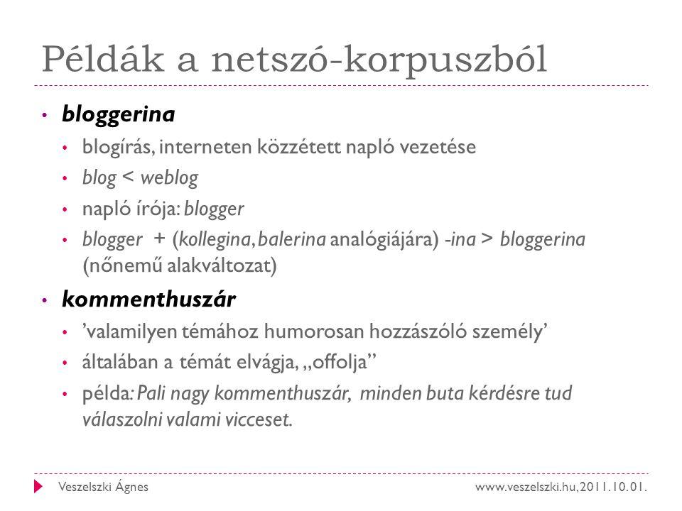 www.veszelszki.hu, 2011. 10. 01.Veszelszki Ágnes Példák a netszó-korpuszból bloggerina blogírás, interneten közzétett napló vezetése blog < weblog nap