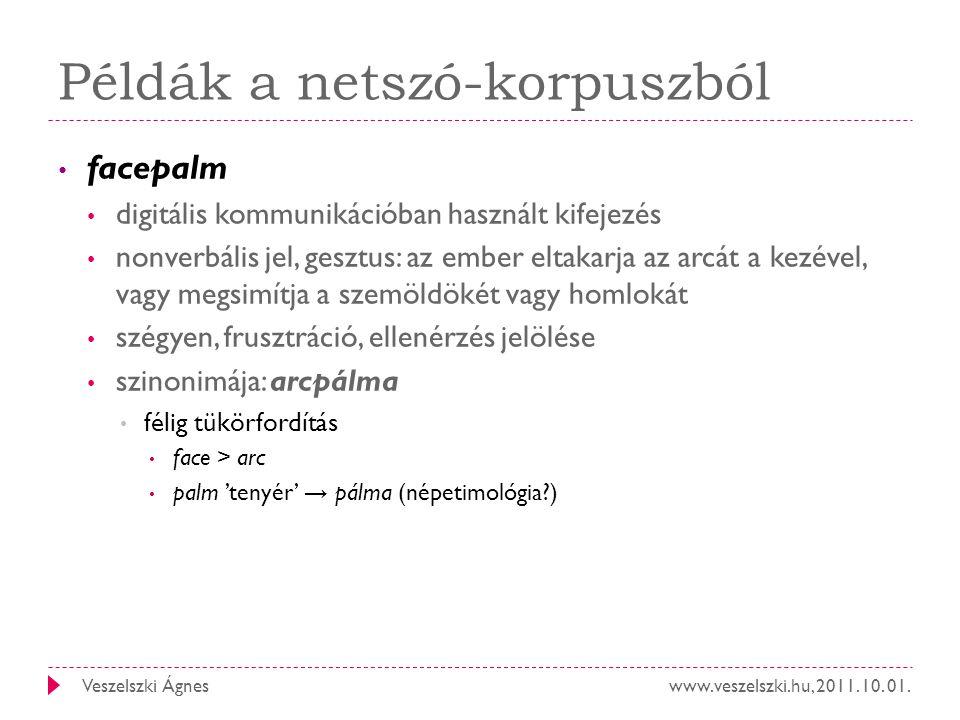 www.veszelszki.hu, 2011. 10. 01.Veszelszki Ágnes Példák a netszó-korpuszból facepalm digitális kommunikációban használt kifejezés nonverbális jel, ges