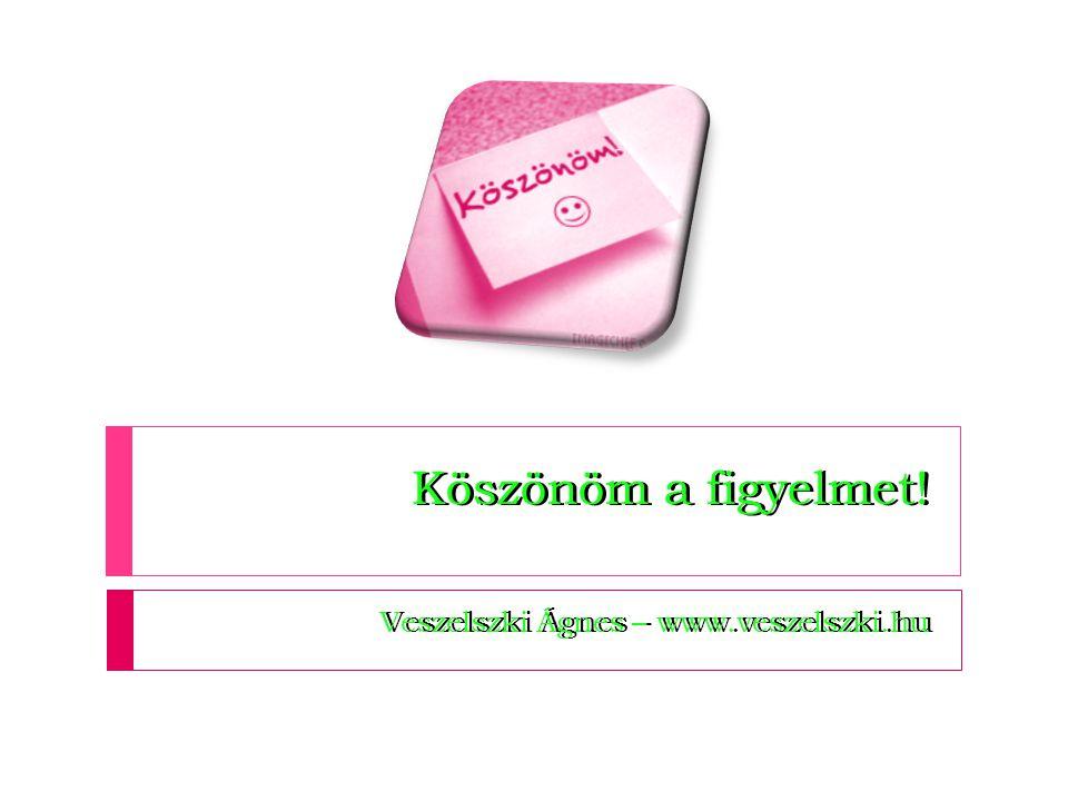 Köszönöm a figyelmet! Veszelszki Ágnes – www.veszelszki.hu Köszönöm a figyelmet! Veszelszki Ágnes – www.veszelszki.hu
