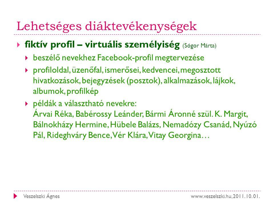 www.veszelszki.hu, 2011. 10. 01.Veszelszki Ágnes Lehetséges diáktevékenységek  fiktív profil – virtuális személyiség (Sógor Márta)  beszélő nevekhez