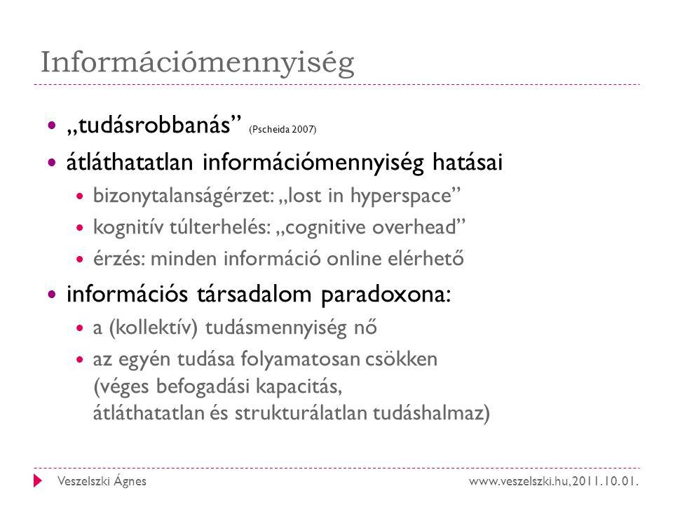 """www.veszelszki.hu, 2011. 10. 01.Veszelszki Ágnes Információmennyiség """"tudásrobbanás"""" (Pscheida 2007) átláthatatlan információmennyiség hatásai bizonyt"""
