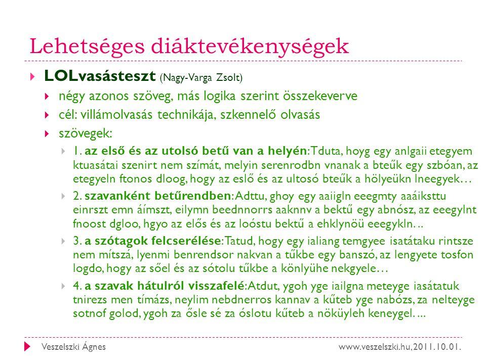 www.veszelszki.hu, 2011. 10. 01.Veszelszki Ágnes Lehetséges diáktevékenységek  LOLvasásteszt (Nagy-Varga Zsolt)  négy azonos szöveg, más logika szer