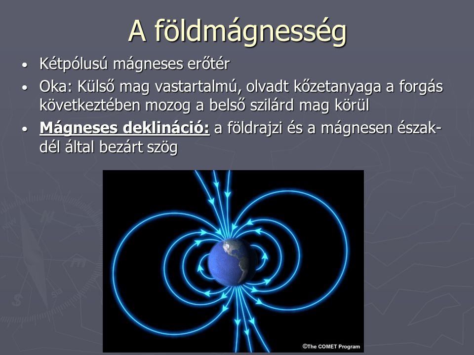 A földmágnesség Kétpólusú mágneses erőtér Kétpólusú mágneses erőtér Oka: Külső mag vastartalmú, olvadt kőzetanyaga a forgás következtében mozog a bels