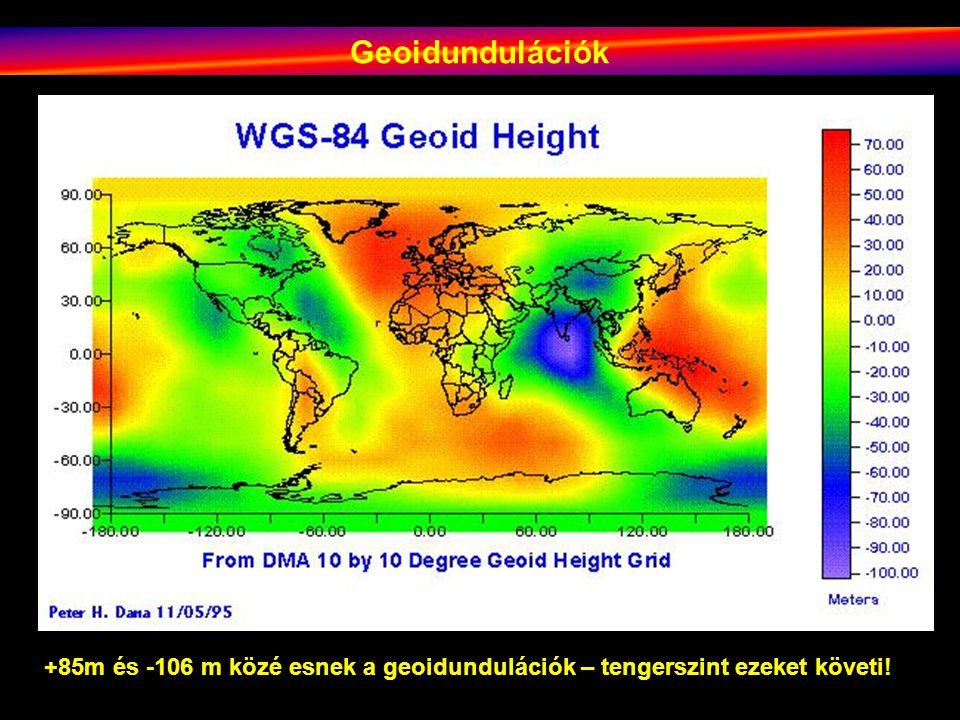 Geoidundulációk +85m és -106 m közé esnek a geoidundulációk – tengerszint ezeket követi!