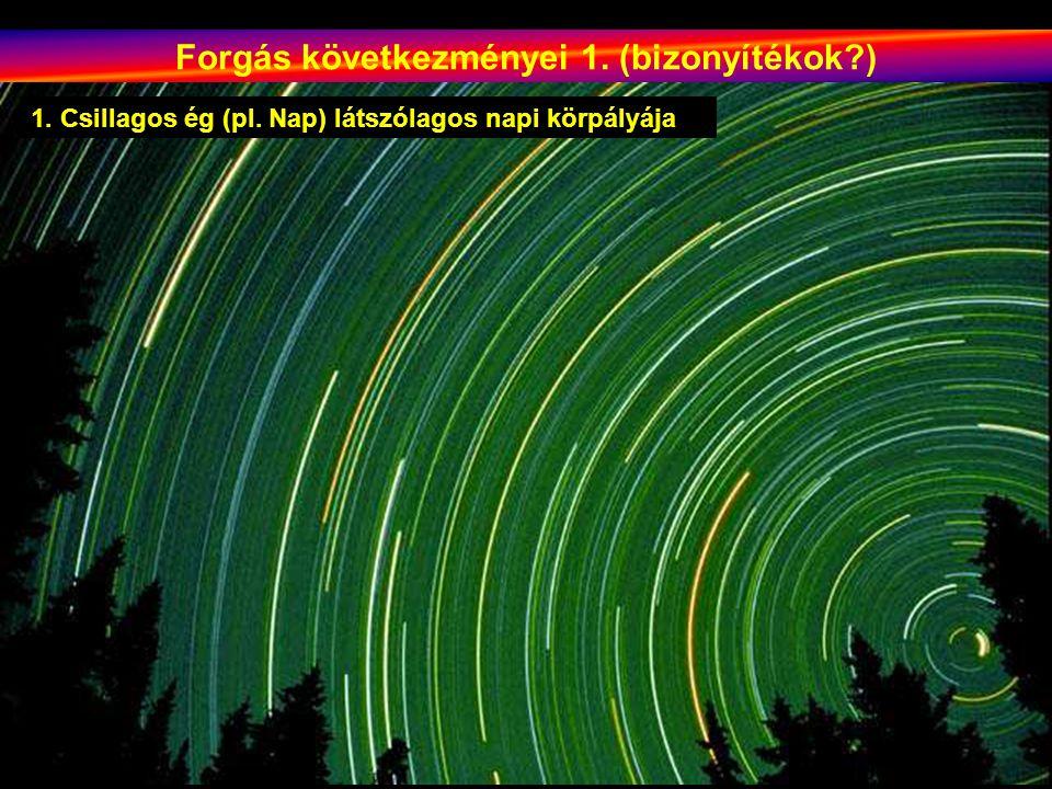 Forgás következményei 1. (bizonyítékok?) 1. Csillagos ég (pl. Nap) látszólagos napi körpályája