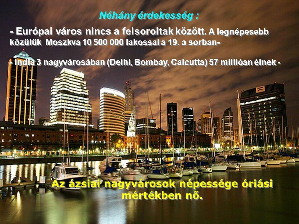 1. TOKYO 36 669 000 lakos Óriási demográfia robbanás !