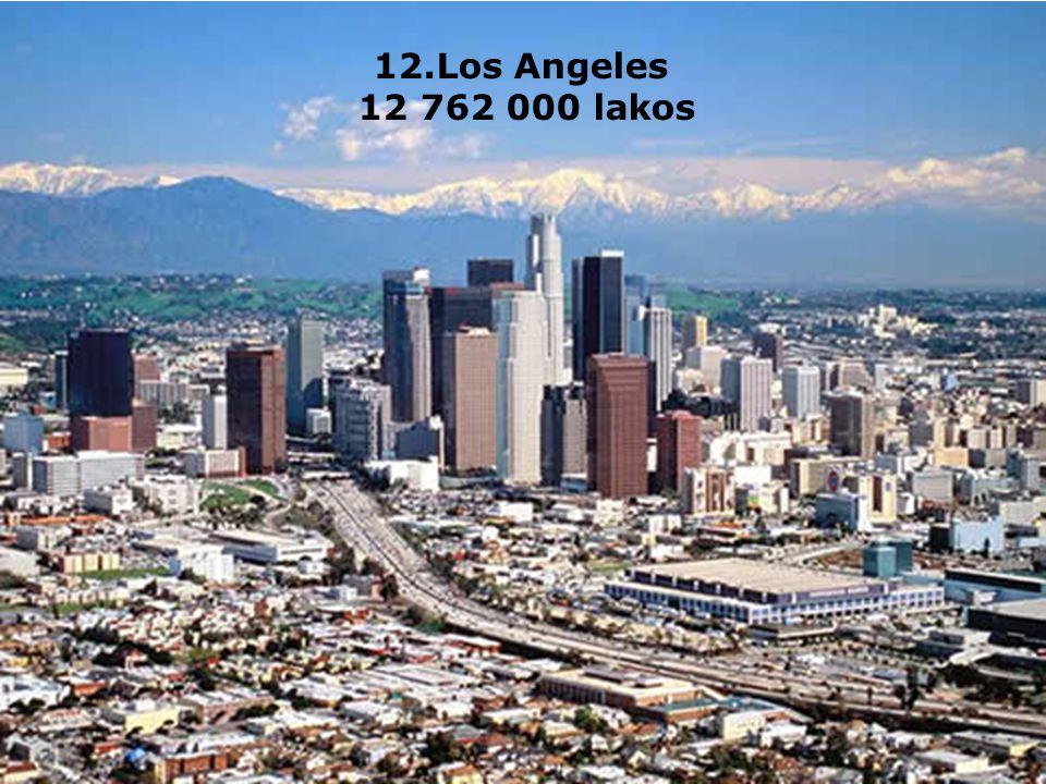 12.Los Angeles 12 762 000 lakos