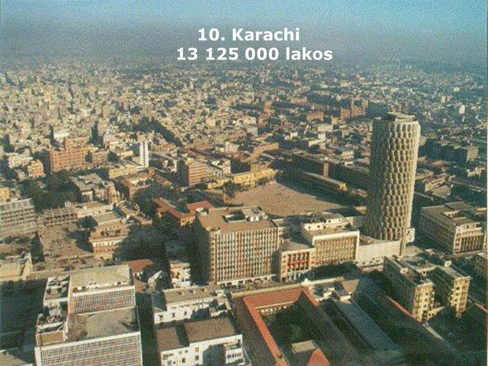 10. Karachi 13 125 000 lakos