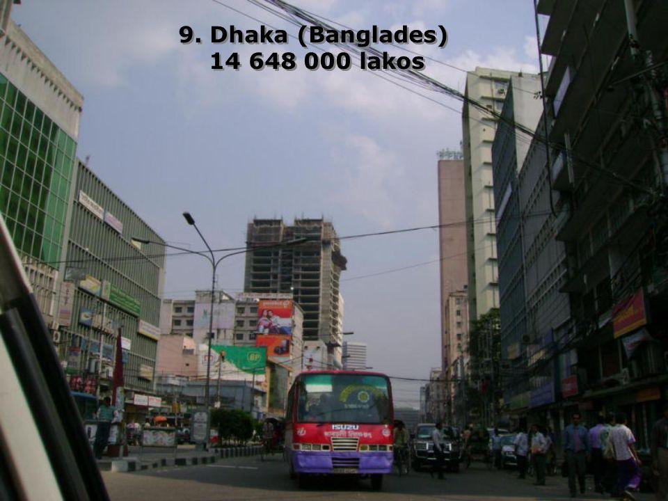 9. Dhaka (Banglades) 14 648 000 lakos 9. Dhaka (Banglades) 14 648 000 lakos