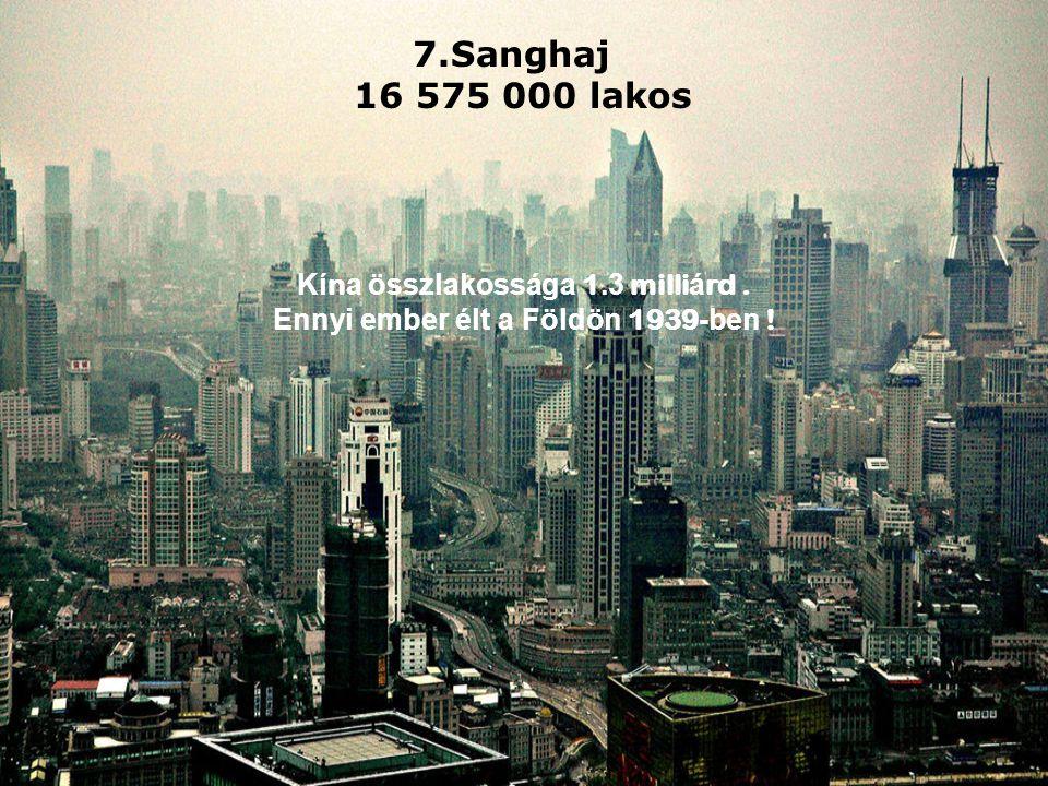 7.Sanghaj 16 575 000 lakos Kí n a összlakossága 1.3 milli á rd.