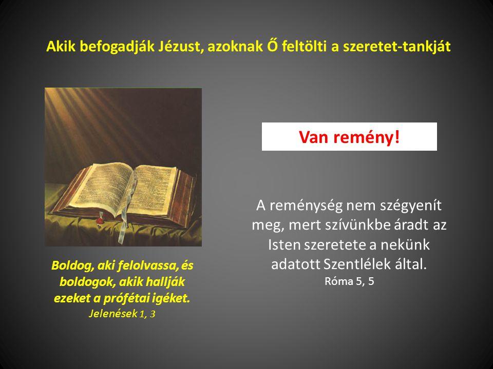 Akik befogadják Jézust, azoknak Ő feltölti a szeretet-tankját Boldog, aki felolvassa, és boldogok, akik hallják ezeket a prófétai igéket.