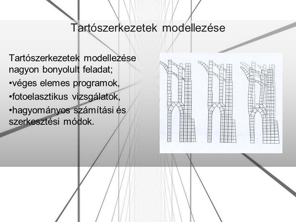 Tartószerkezetek modellezése Tartószerkezetek modellezése nagyon bonyolult feladat; véges elemes programok, fotoelasztikus vizsgálatok, hagyományos sz