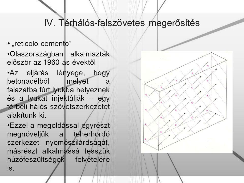 """IV. Térhálós-falszövetes megerősítés """"reticolo cemento"""" Olaszországban alkalmazták először az 1960-as évektől Az eljárás lényege, hogy betonacélból me"""