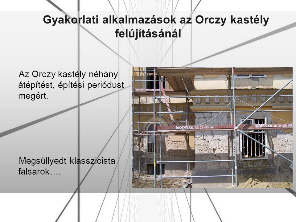 Gyakorlati alkalmazások az Orczy kastély felújításánál Az Orczy kastély néhány átépítést, építési periódust megért. Megsüllyedt klasszicista falsarok…
