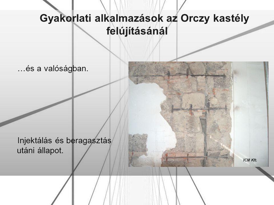 Gyakorlati alkalmazások az Orczy kastély felújításánál …és a valóságban. Injektálás és beragasztás utáni állapot. ICM Kft.