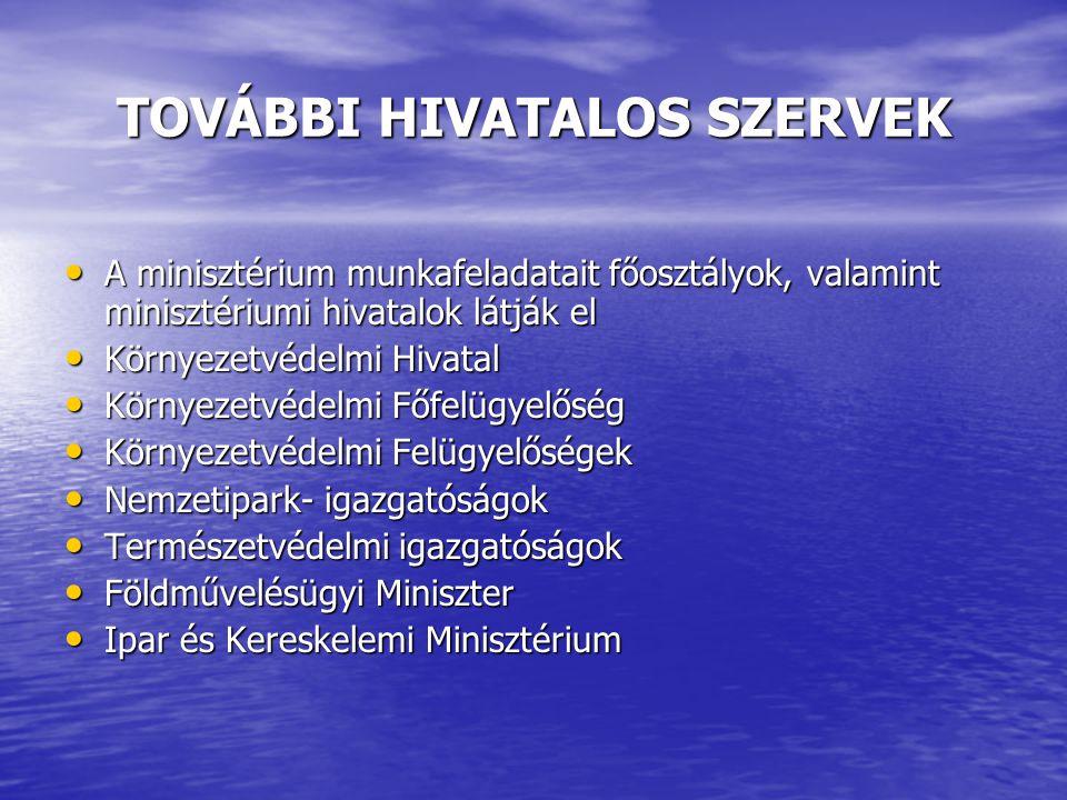 TOVÁBBI HIVATALOS SZERVEK A minisztérium munkafeladatait főosztályok, valamint minisztériumi hivatalok látják el A minisztérium munkafeladatait főoszt