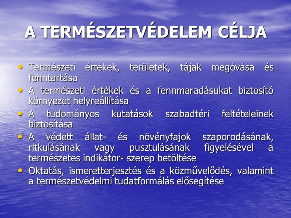 A TERMÉSZETVÉDELEM CÉLJA Természeti értékek, területek, tájak megóvása és fenntartása Természeti értékek, területek, tájak megóvása és fenntartása A t