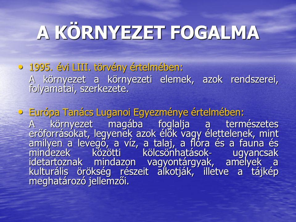 A KÖRNYEZET FOGALMA 1995. évi LIII. törvény értelmében: 1995. évi LIII. törvény értelmében: A környezet a környezeti elemek, azok rendszerei, folyamat