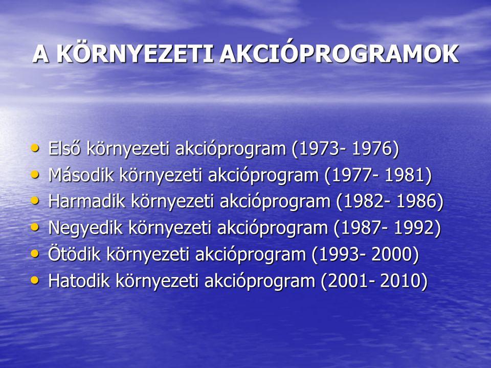 A KÖRNYEZETI AKCIÓPROGRAMOK Első környezeti akcióprogram (1973- 1976) Első környezeti akcióprogram (1973- 1976) Második környezeti akcióprogram (1977-
