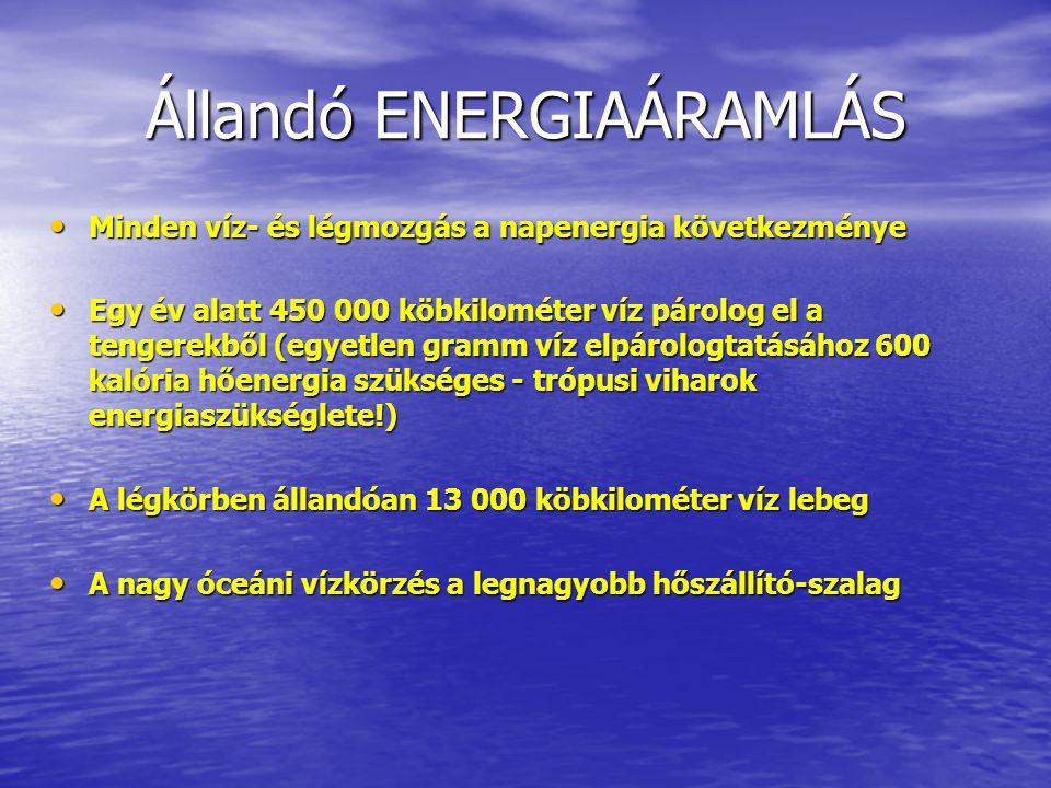 Állandó ENERGIAÁRAMLÁS Minden víz- és légmozgás a napenergia következménye Minden víz- és légmozgás a napenergia következménye Egy év alatt 450 000 kö