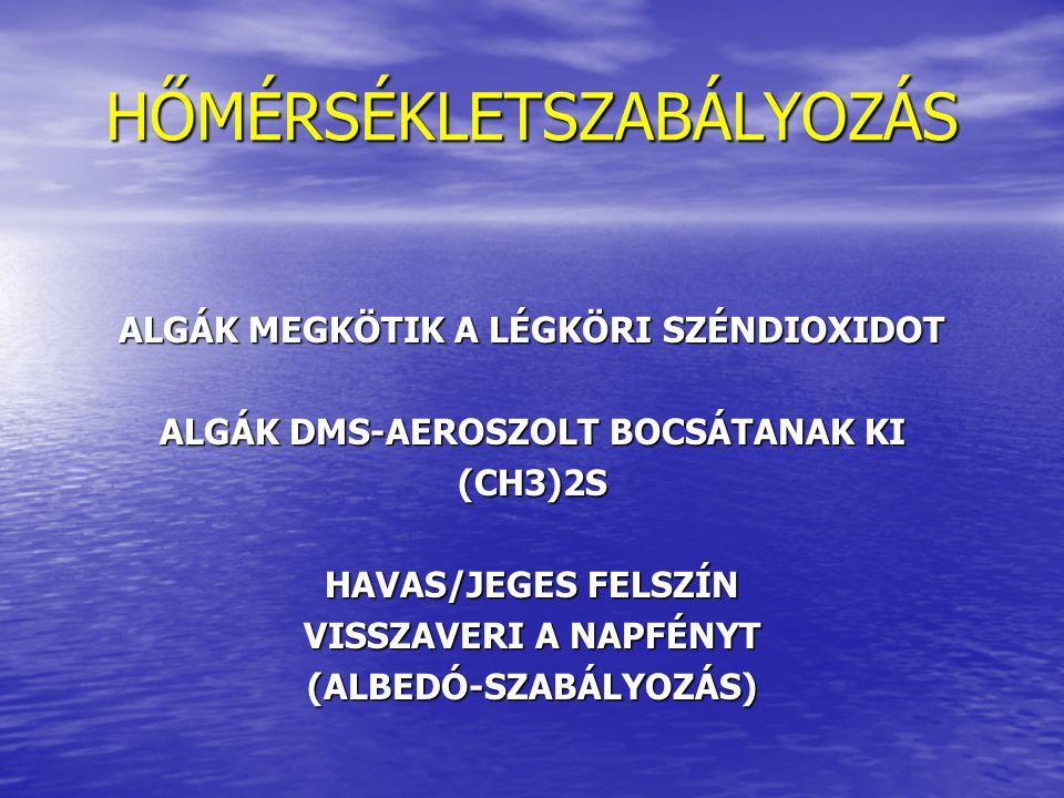 HŐMÉRSÉKLETSZABÁLYOZÁS ALGÁK MEGKÖTIK A LÉGKÖRI SZÉNDIOXIDOT ALGÁK DMS-AEROSZOLT BOCSÁTANAK KI (CH3)2S HAVAS/JEGES FELSZÍN VISSZAVERI A NAPFÉNYT (ALBE