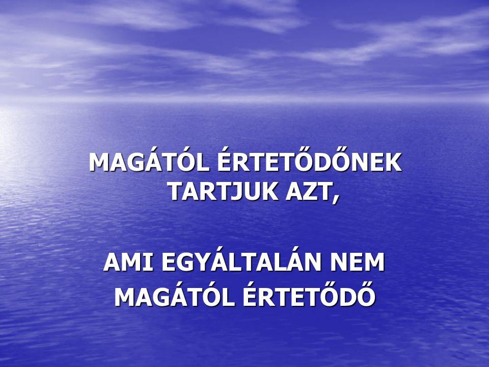 MAGÁTÓL ÉRTETŐDŐNEK TARTJUK AZT, AMI EGYÁLTALÁN NEM MAGÁTÓL ÉRTETŐDŐ