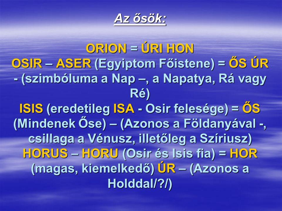Az ősök: ORION = ÚRI HON OSIR – ASER (Egyiptom Főistene) = ŐS ÚR - (szimbóluma a Nap –, a Napatya, Rá vagy Ré) ISIS (eredetileg ISA - Osir felesége) =