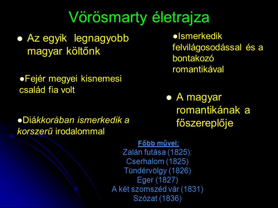 Vörösmarty életrajza Az egyik legnagyobb magyar költőnk A magyar romantikának a főszereplője ●Fejér megyei kisnemesi család fia volt ●Diákkorában isme