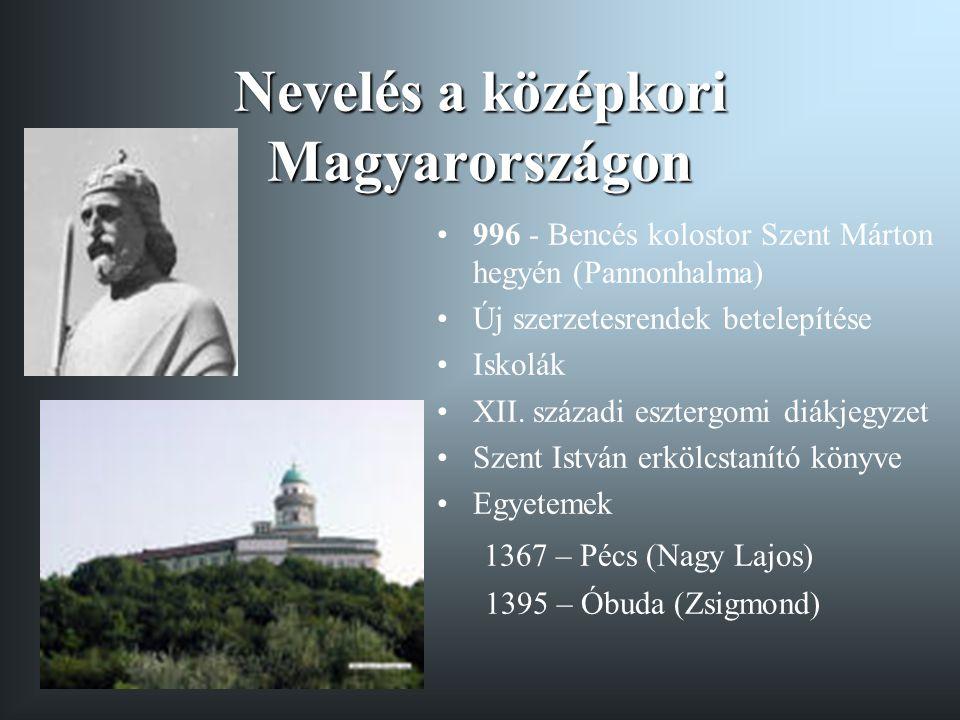 Nevelés a középkori Magyarországon 996 - Bencés kolostor Szent Márton hegyén (Pannonhalma) Új szerzetesrendek betelepítése Iskolák XII.