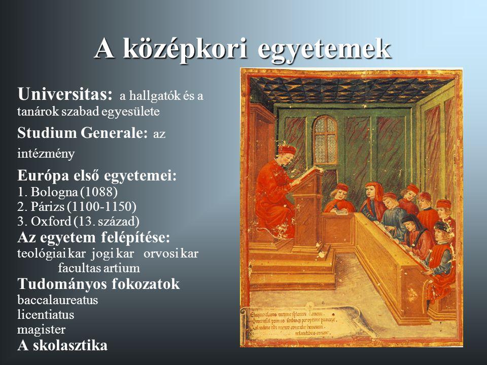A középkori egyetemek Universitas: a hallgatók és a tanárok szabad egyesülete Studium Generale: az intézmény Európa első egyetemei: 1.