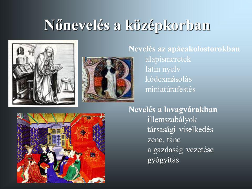 Nőnevelés a középkorban Nevelés az apácakolostorokban alapismeretek latin nyelv kódexmásolás miniatúrafestés Nevelés a lovagvárakban illemszabályok társasági viselkedés zene, tánc a gazdaság vezetése gyógyítás