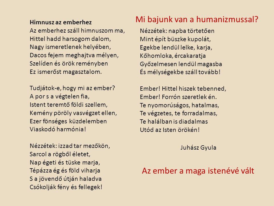Himnusz az emberhez Az emberhez száll himnuszom ma, Hittel hadd harsogom dalom, Nagy ismeretlenek helyében, Dacos fejem meghajtva mélyen, Szelíden és