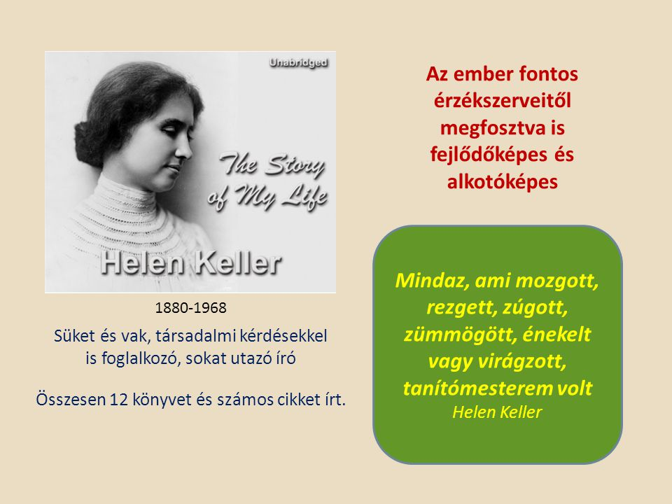 Az ember fontos érzékszerveitől megfosztva is fejlődőképes és alkotóképes 1880-1968 Összesen 12 könyvet és számos cikket írt. Süket és vak, társadalmi